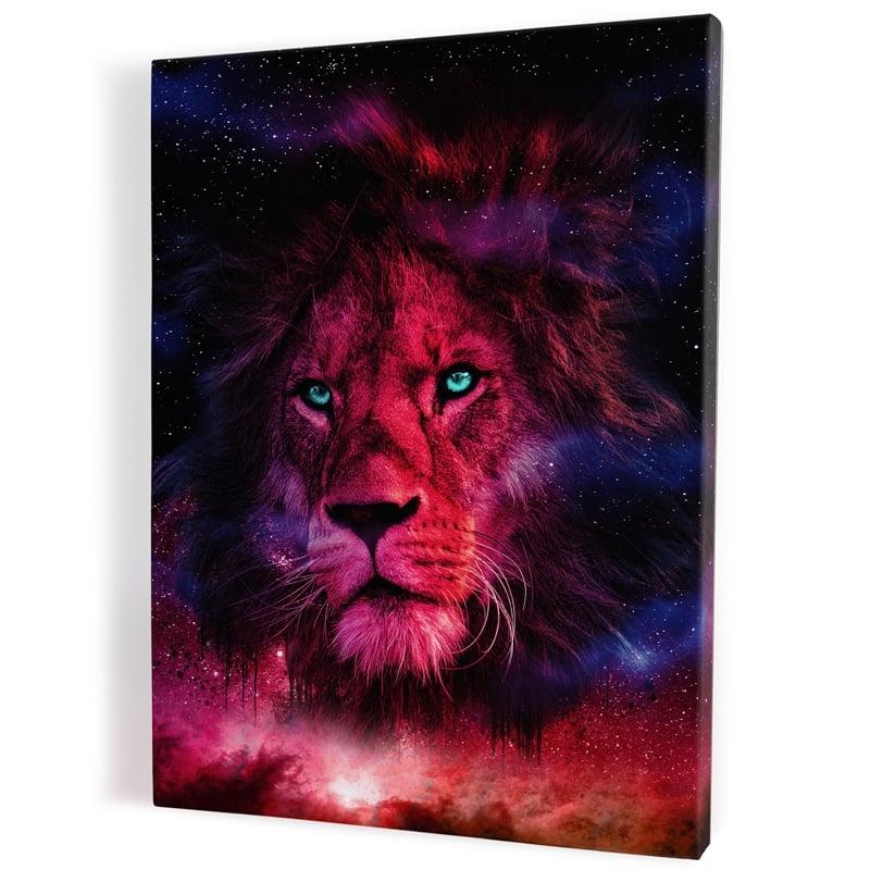 TABLEAU-lion-multicolore-coloré-popart