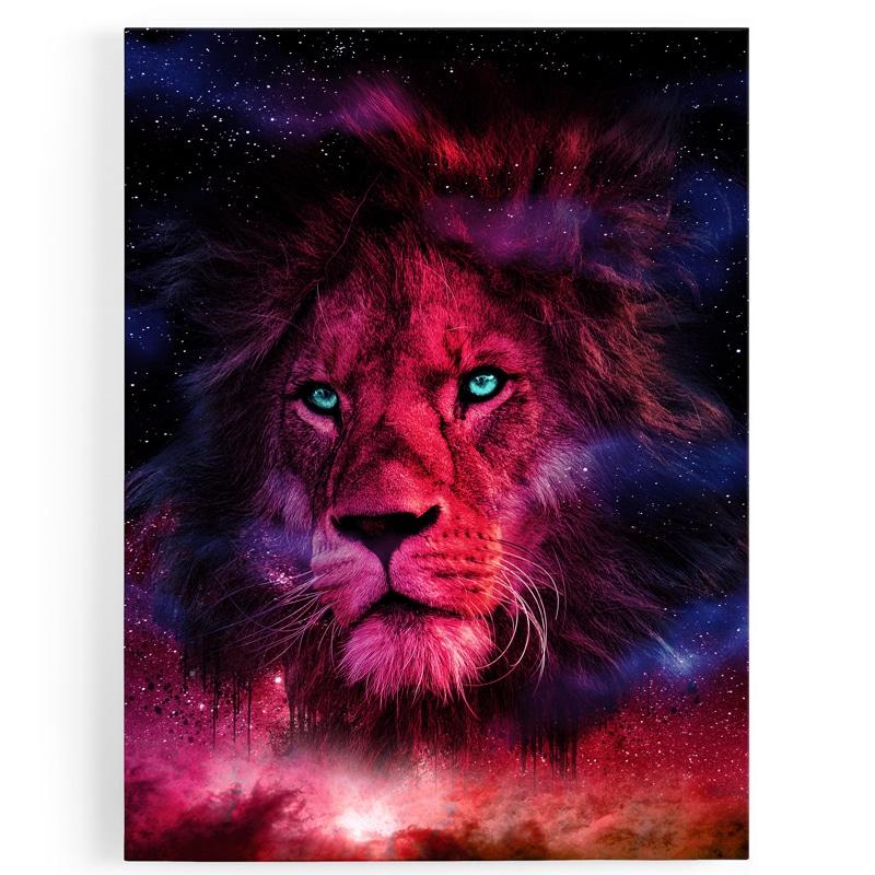 TABLEAU-toile-lion-multicolore-coloré-popart