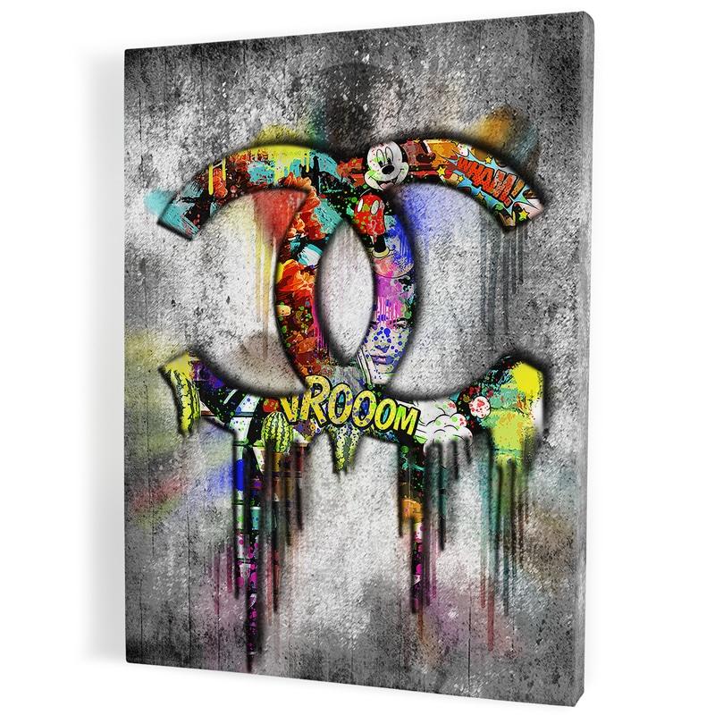 Tableau-chanel-gris--popart-coloré-art-