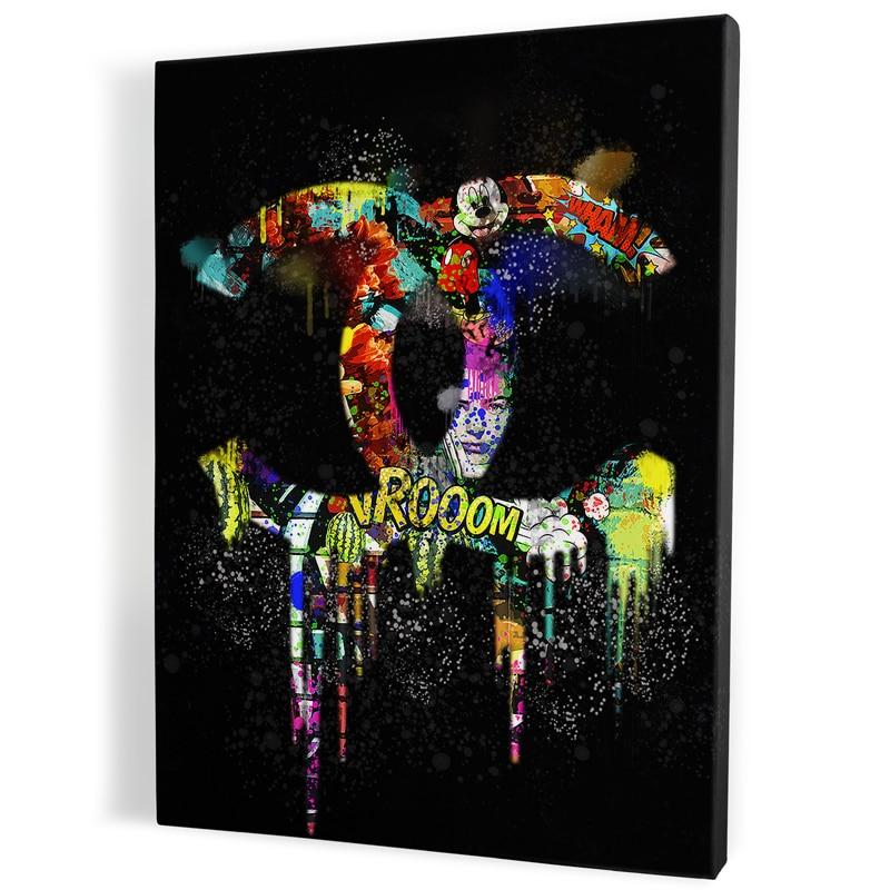 Tableau-chanel-noir--popart-coloré-art-