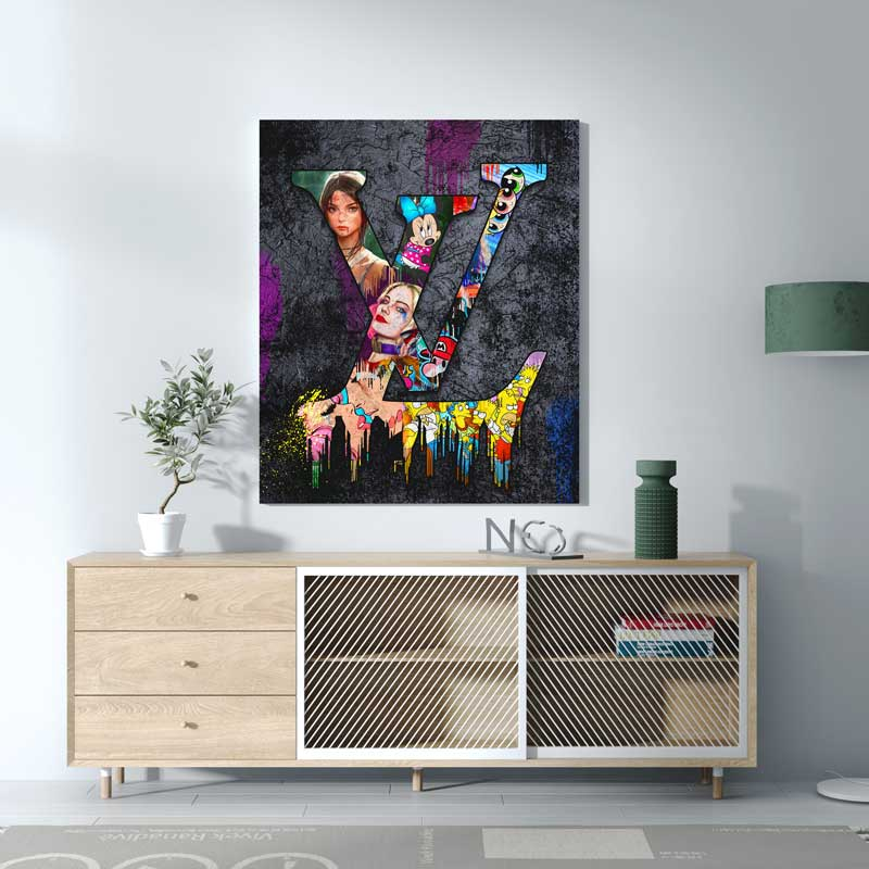 tableau toile cadre lv louis vuitton pop art street art 01