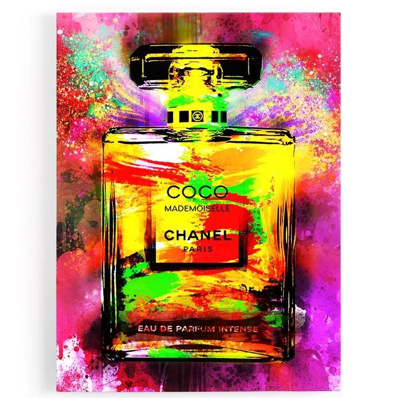 Tableau-toile--chanel--popart-coloré-rouge-jaune-art-luxe