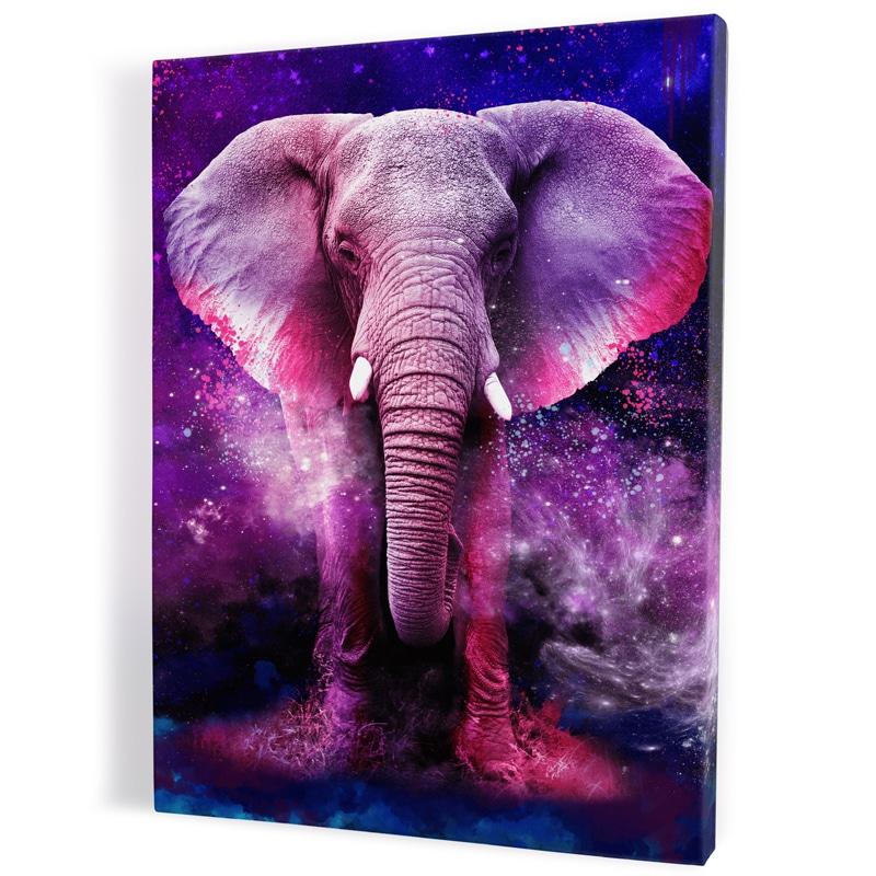 Tableau-toile-elephant-rose-coloré-multicolore-popart-