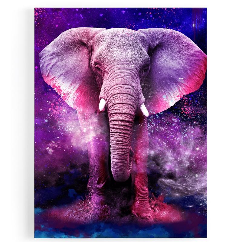 Tableau-toile-elephant-rose-coloré-multicolore-popart-1