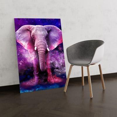 tableau elephant multicolore