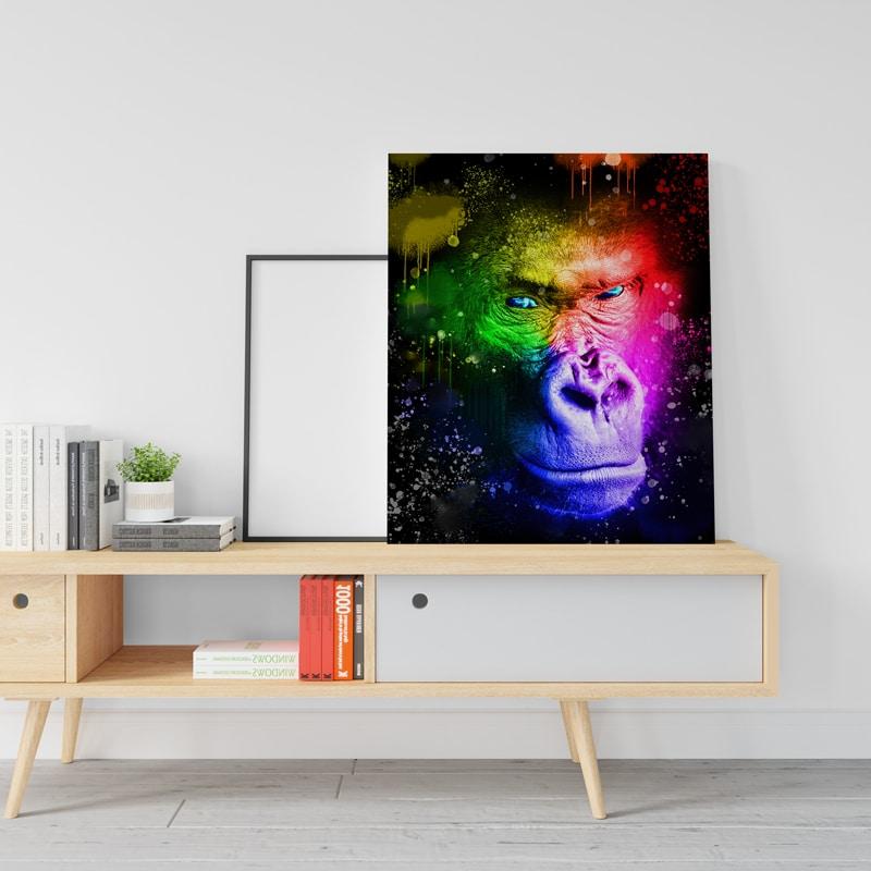 tableau gorille coloré pop art multicolore decoration animaux pop art deco animaux coloré