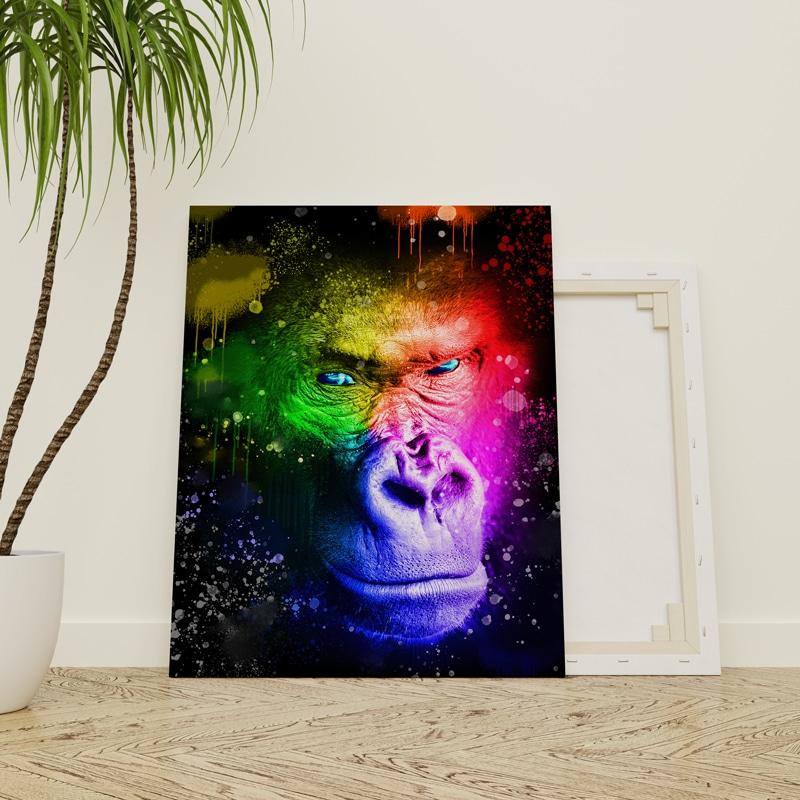 tableau gorille coloré multicolore pop art singe pop art