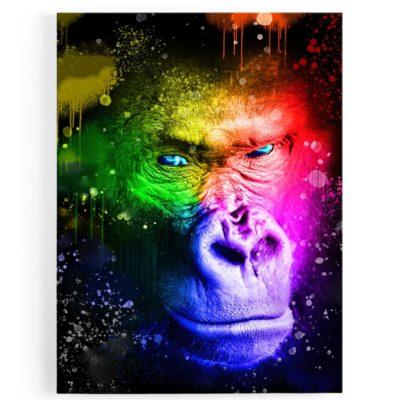 tableau-gorille-coloré-popart-milticolore