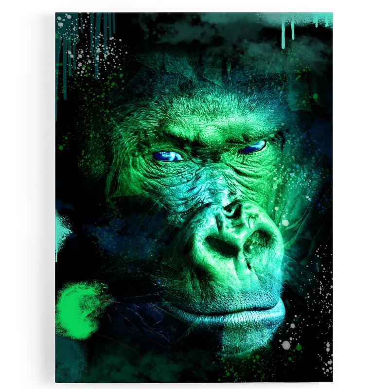 tableau-gorille-coloré-vert-popart-milticolore
