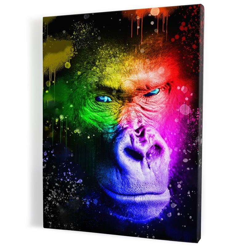 tableau-gorille-singe-coloré-popart-milticolore