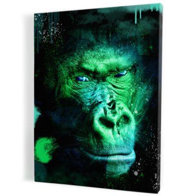 tableau-gorille-singe-coloré-vert-popart-milticolore