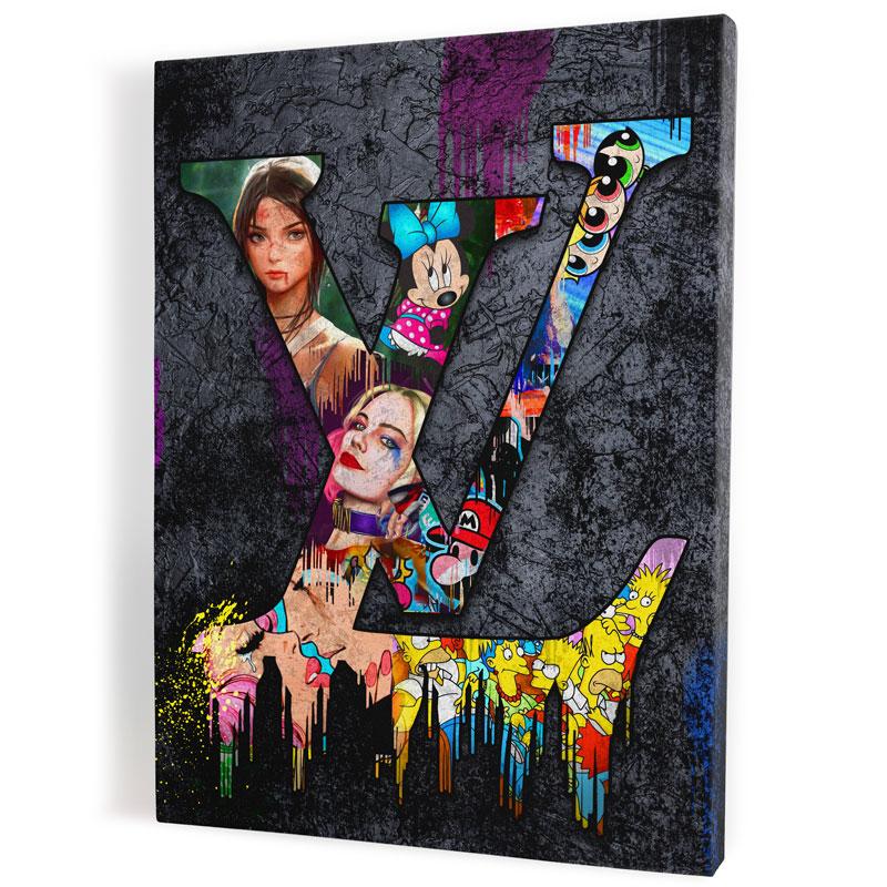 tableau lv noir pop art tableau louis vuitton street art 01