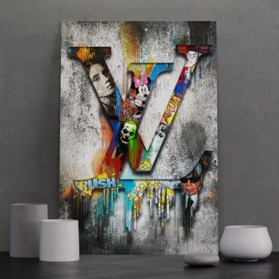 tableau lv louis vuitton gris pop art deco murale