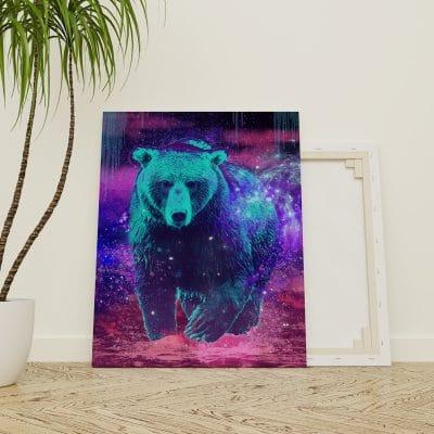 tableau ours deco animaux pop art street art coloré multicolore decoration murale poster cadre