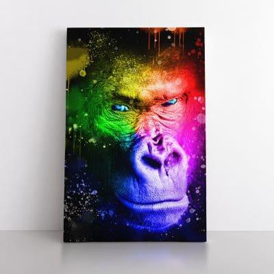 tableau gorille pop art multicolore singe pop art street art animaux coloré