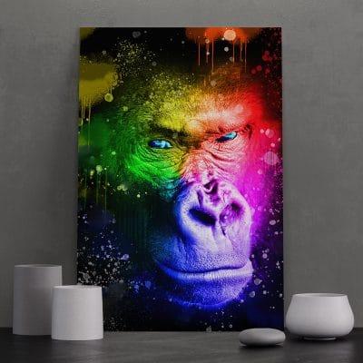 tableau singe gorille pop art coloré multicolore