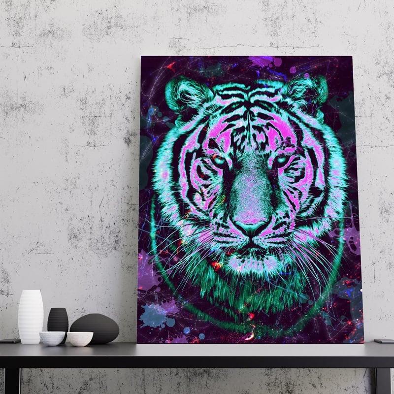 tableau tigre pop art street art coloré multicolore animaux