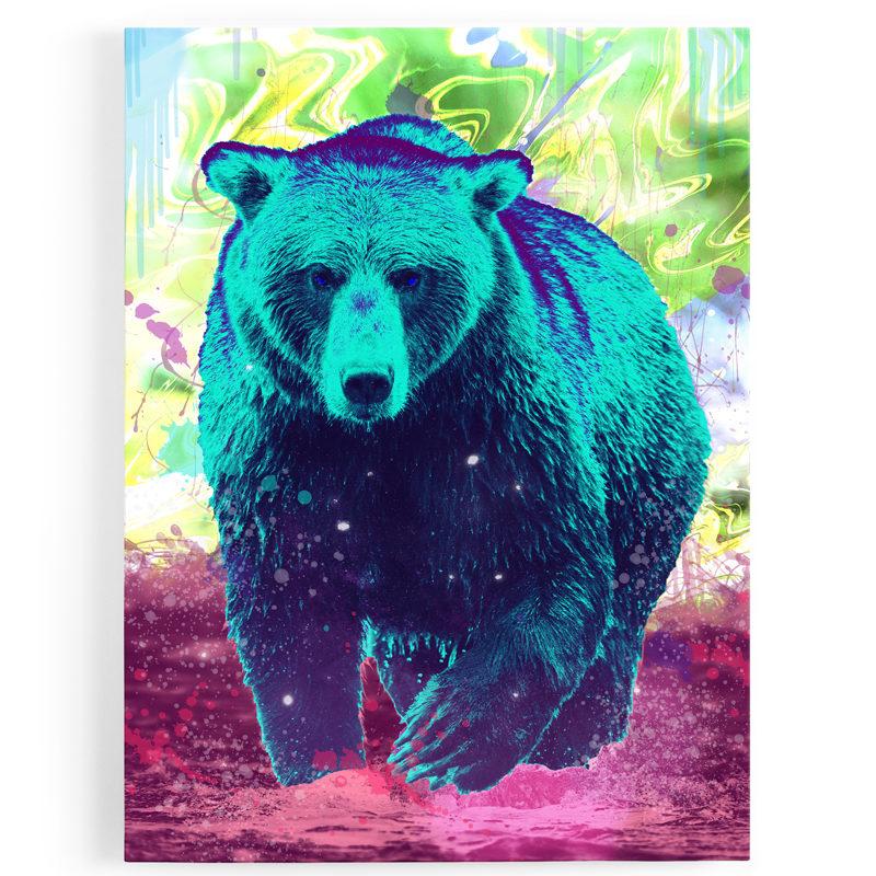 tableau-toile-ours-coloré-popart-multicolore