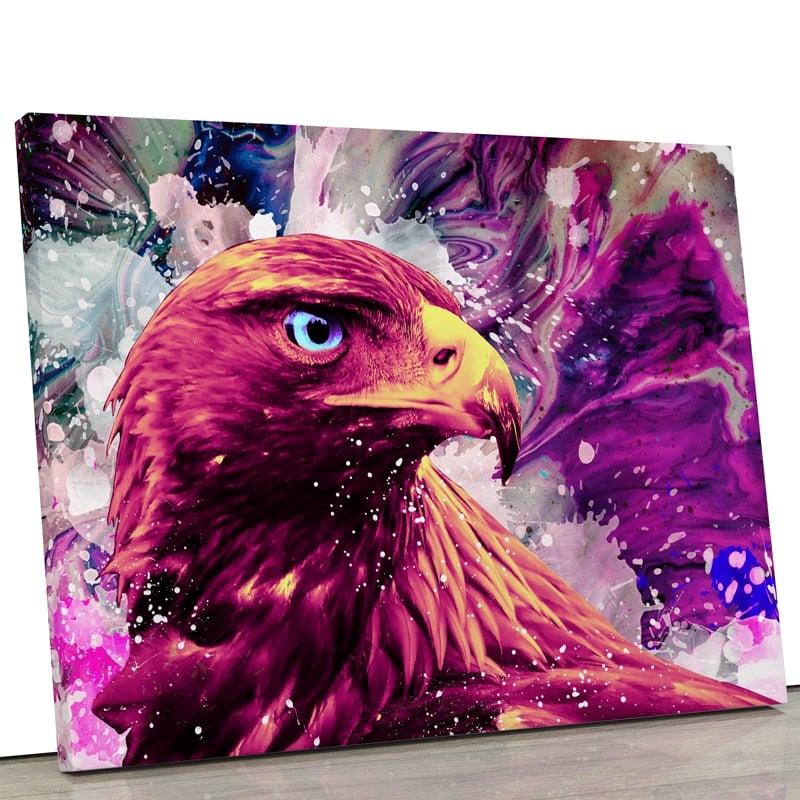 tableau-aigle-faucon-oiseau-popart-coloré-multicolore-rouge-blanc-rose-bleu