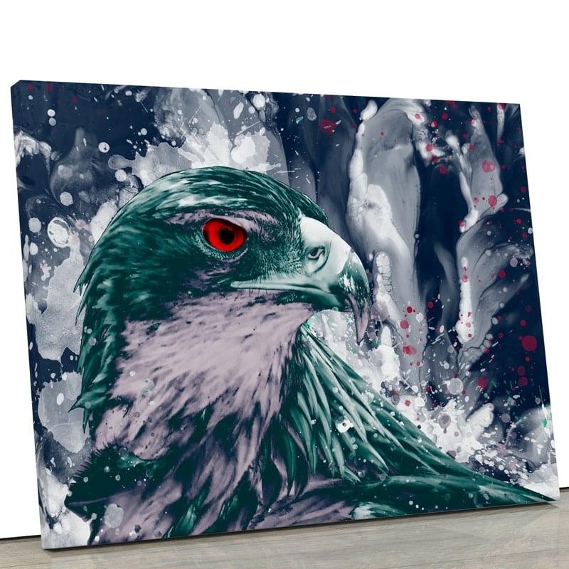 tableau-aigle-faucon-oiseau-popart-coloré-multicolore-vert-blanc-rouge-
