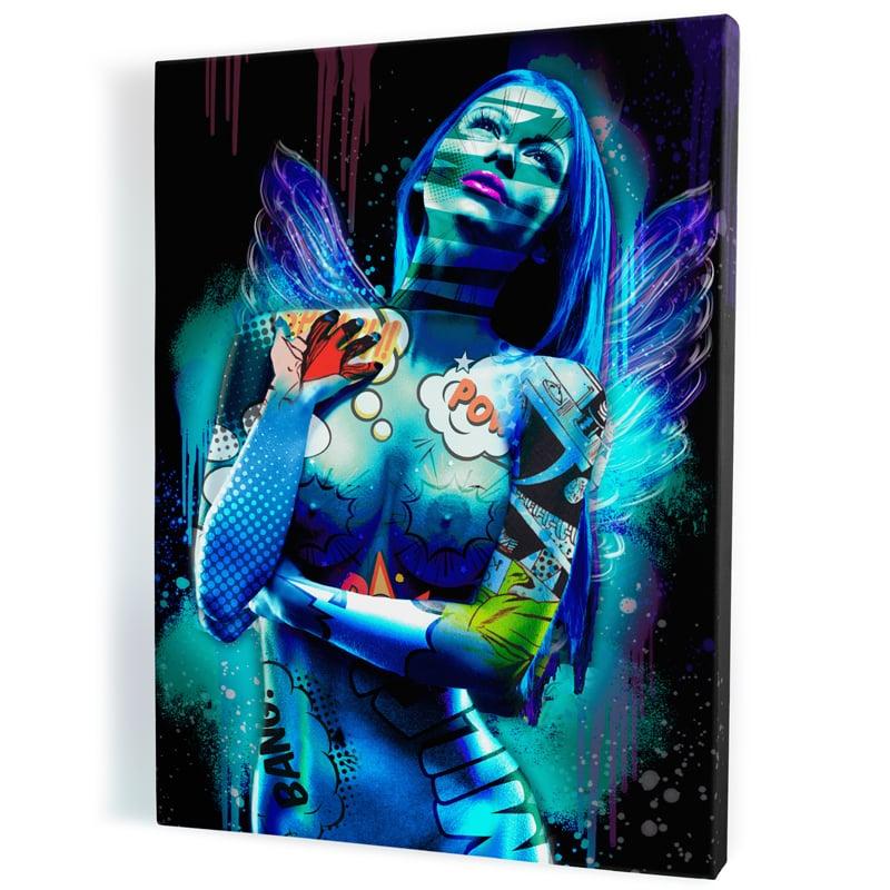 tableau-ange-popart-coloré-femme-nue-sexy-01