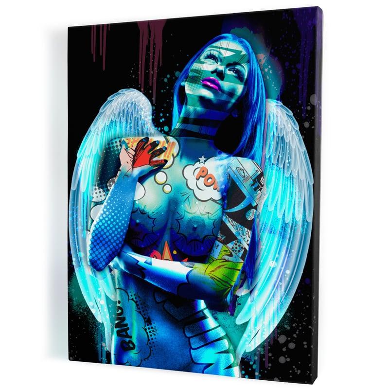 tableau-ange-popart-coloré-femme-nue-sexy