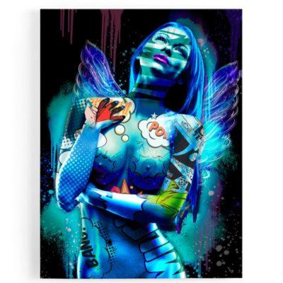 tableau-cadre-aluminium-ange-popart-coloré-femme-nue-sexy-01