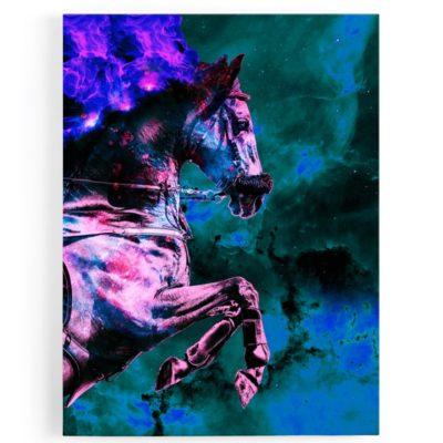 tableau-cadre-toile-aluminium-cheval-coloré-vert-violet-multicolore