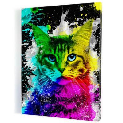 tableau-cadre-toile-chat-popart-coloré-multicolore