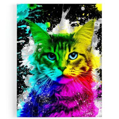 tableau-cadre-toile-chat-popart-coloré-multicolore-jaune-rose-bleu-vert-blanc
