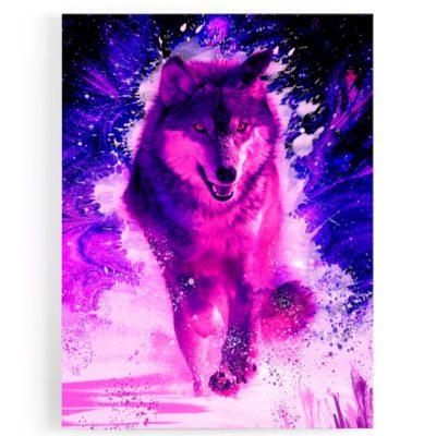 tableau-cadre-toile-loup-coloré-multicolore-rose-rouge-bleu-decoration-murale