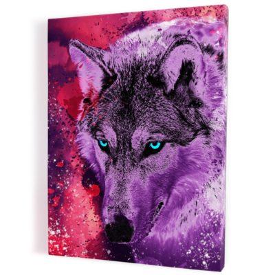tableau-cadre-toile-loup-coloré-multicolore-violet-rose-rouge
