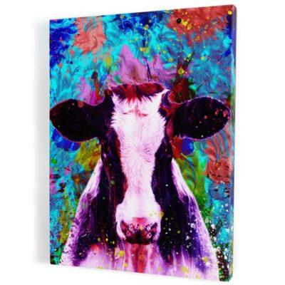tableau-cadre-vache-coloré-popart-bleu-jaune-rose