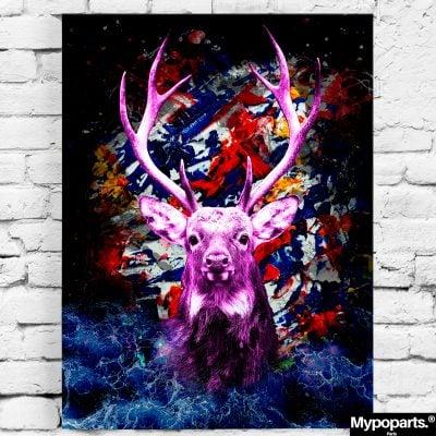 tableau cerf pop art coloré
