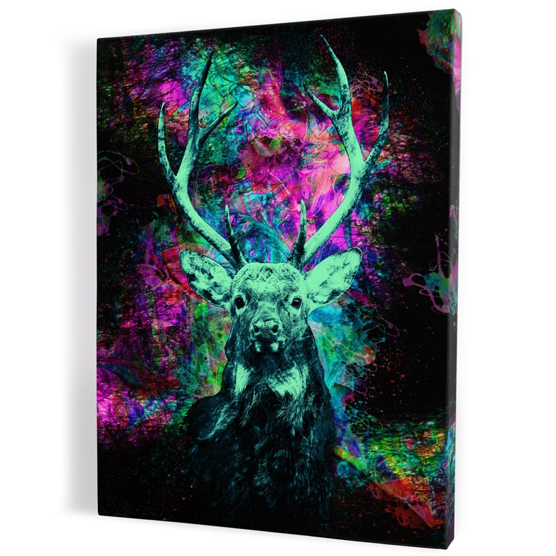tableau-cerf-coloré-vert-et-violet-multicolore
