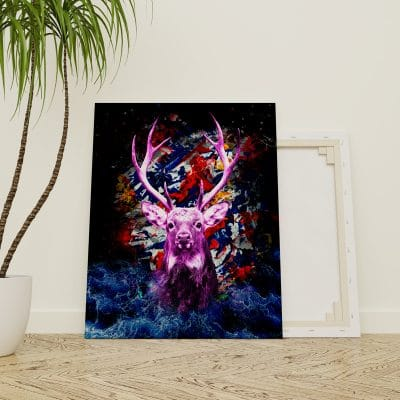 tableau cerf animaux cadre toile poster pop art