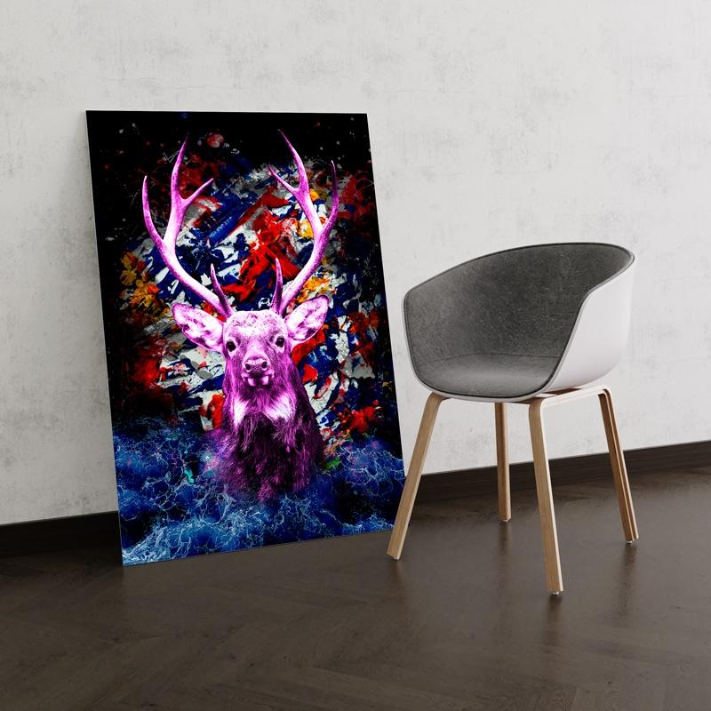 tableau cerf multicolore