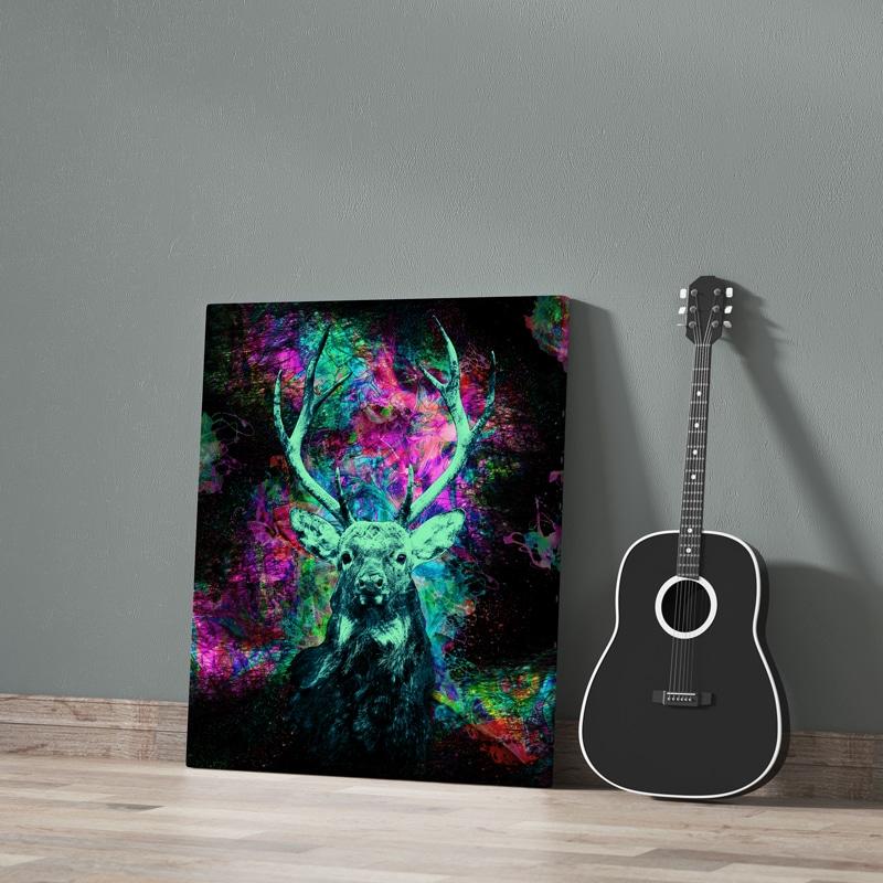 tableau cerf coloré