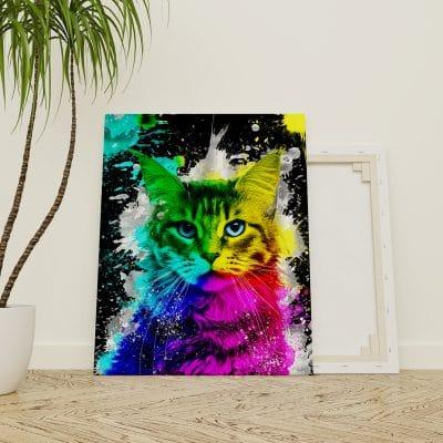 tableau chat pop art coloré multicolore