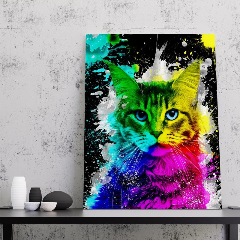 tableau chat coloré