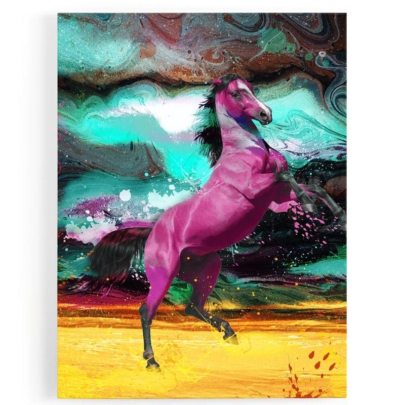 tableau-cheval-coloré-multicolore-vert-noir-jaune