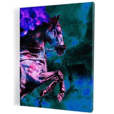 tableau-cheval-coloré-vert-violet-multicolore
