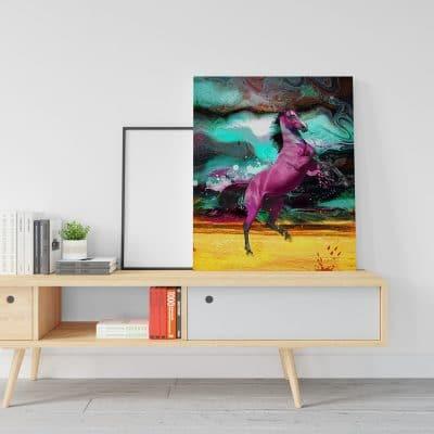 tableau cheval multicolore