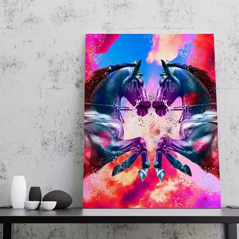cadre cheval coloré pop art