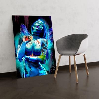 tableai aile d'ange pop art femme sexy nue