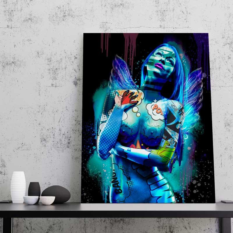 tableau femme aile d'ange sexy nue pop art art design coloré