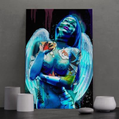 tableau aile ange femme coloré pop art decoration nue