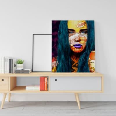 tableau visage femme coloré pop art