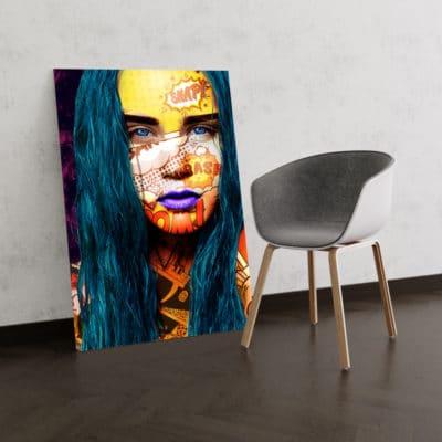 cadre toile poster tableau decoration femme visage coloré pop art