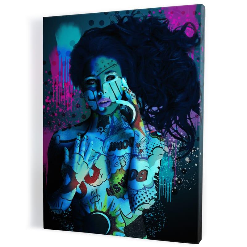 tableau-femme-nue-bleu-sexy-popart-coloré